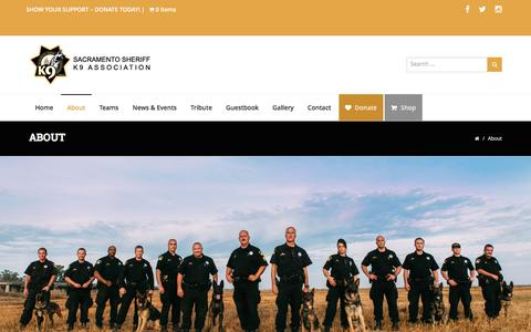 Screenshot of About Page ssdk9.com - About » Sacramento Sheriff K9 Association - captured March 17, 2017