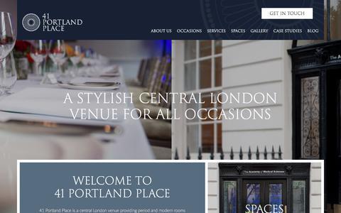 Screenshot of Home Page 41portlandplace.com - Home - 41 Portland Place - captured June 18, 2017