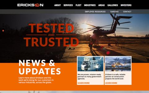 Screenshot of Home Page ericksonaviation.com - Erickson Inc. | TESTED AND TRUSTED - captured Oct. 2, 2014