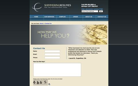 Screenshot of Contact Page shimmeringresumes.com - Resume Writing Services - Shimmering Resumes - professional resume writing services - captured Sept. 30, 2014