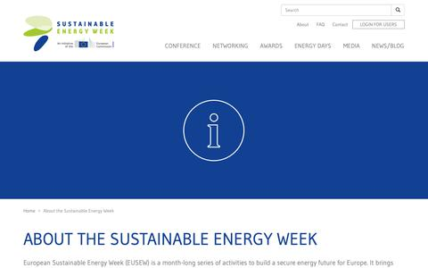 Screenshot of About Page eusew.eu - About the Sustainable Energy Week | EUSEW - captured Nov. 22, 2018