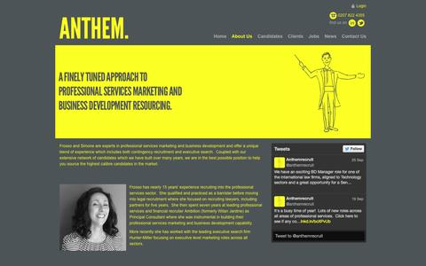Screenshot of About Page anthemconsulting.co.uk - Professional Services Recruitment - Anthem Consulting - captured Sept. 30, 2014