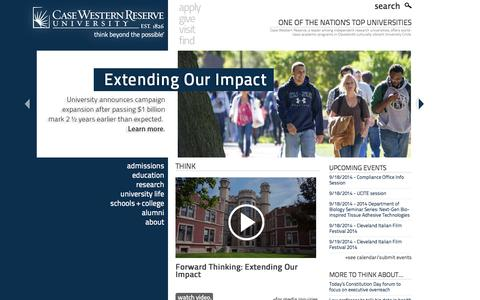 Screenshot of Home Page cwru.edu - Case Western Reserve University - One of the nation's top universities and the best college in Ohio - captured Sept. 18, 2014