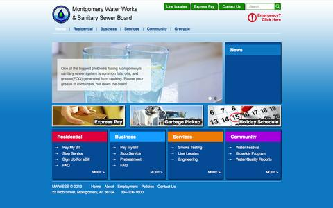 Screenshot of Home Page mwwssb.com - Montgomery Water Works - captured Oct. 6, 2014