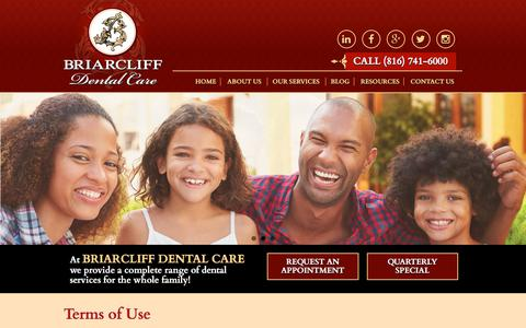 Screenshot of Terms Page briarcliffdentalcare.com - Terms of Use | Briarcliff Dental Care - captured June 3, 2017