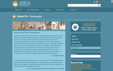 Screenshot of Testimonials Page americaninterfaith.org - Testimonials | American Interfaith Institute - captured Oct. 4, 2014