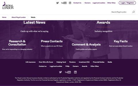 Screenshot of Press Page royallondon.com - Media | Royal London - captured May 18, 2017