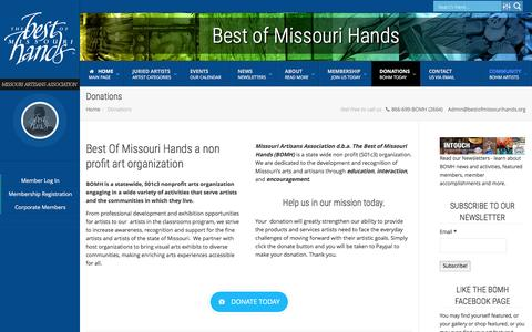 Screenshot of Support Page bestofmissourihands.org - Donations | BOMH - captured Feb. 15, 2016