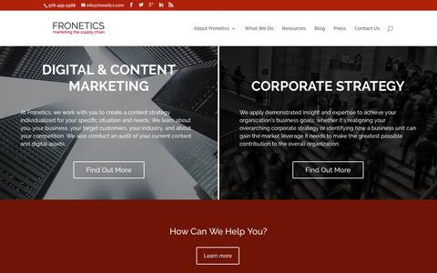 Screenshot of Home Page fronetics.com - Fronetics – Digital and Content Marketing for the Supply Chain - captured Nov. 25, 2016