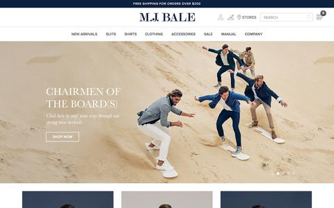 Screenshot of Home Page mjbale.com - Men's Suits, Tuxedos, Shirts & Fashion | MJ Bale - captured Oct. 26, 2015