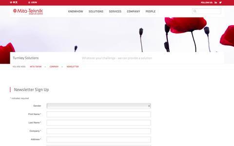 Screenshot of Signup Page mita-teknik.com - Newsletter - captured Dec. 13, 2016