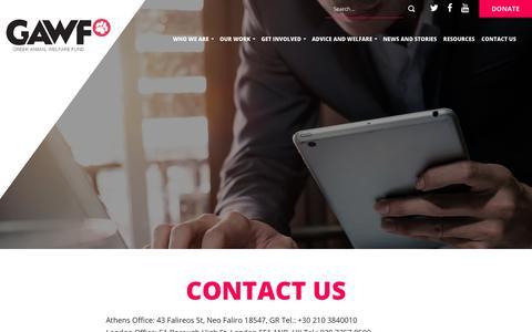 Screenshot of Contact Page gawf.org.uk - Contact Us » Greek Animal Welfare Fund - captured June 30, 2018