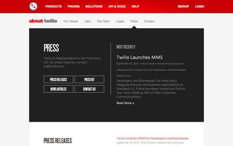 Screenshot of Press Page twilio.com - Twilio Press Releases - captured Oct. 22, 2014