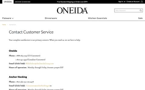 Screenshot of Contact Page oneida.com - Contact Us - captured Aug. 12, 2019