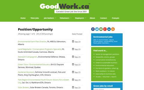 Screenshot of Jobs Page goodwork.ca - Environmental Jobs, Green Jobs, Conservation Jobs   GoodWork.ca - captured Sept. 23, 2014
