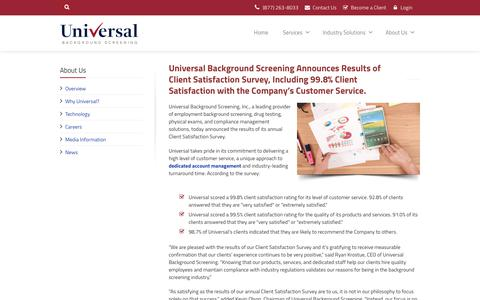 Screenshot of Support Page universalbackground.com - Universal Background Screening | Universal Background Screening Announces Results of Client Satisfaction Survey, Including 99.8% Client Satisfaction with the Company's Customer Service - captured Dec. 6, 2019