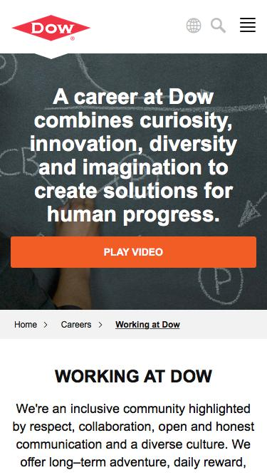 Screenshot of Jobs Page  dow.com - Working at Dow   Dow