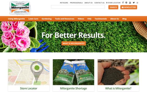 Screenshot of Home Page milorganite.com - Milorganite Fertilizer - For Better Results. - captured Oct. 20, 2018