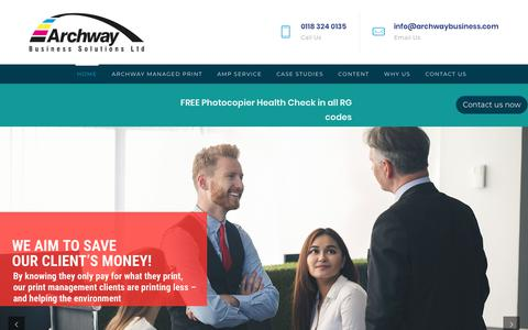 Screenshot of Home Page archwaybusiness.com - Archway Business Services | Commercial Printers & Photocopier | Reading | Berkshire - captured Oct. 4, 2018