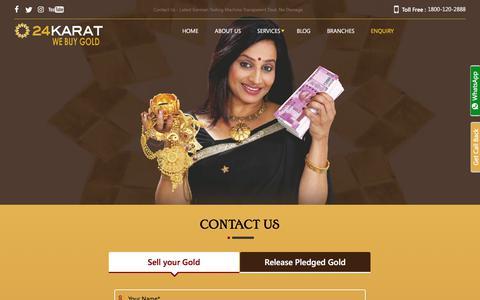 Screenshot of Contact Page 24karat.co.in - Contact Us - 24Karat Sona Do Paise Lo ( Buyer Of Gold ) - captured Dec. 11, 2019