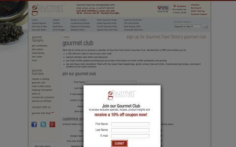 Screenshot of Signup Page gourmetfoodstore.com - Gourmet Food Store's Gourmet Club - Gourmet Food Store - captured Sept. 22, 2014