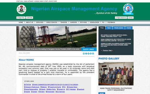 Screenshot of About Page nama.gov.ng - NAMA: Nigerian Airspace Management Agency - captured Oct. 21, 2017