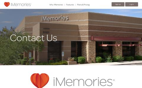 Screenshot of Contact Page imemories.com - iMemories - Contact Us - captured Sept. 12, 2014