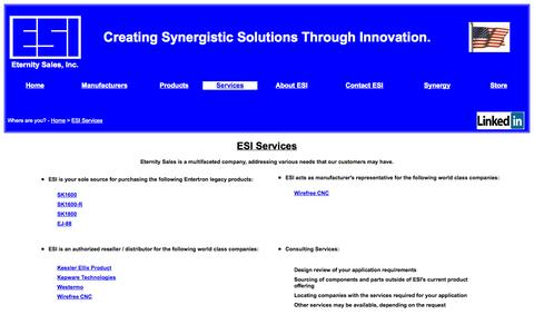 Screenshot of Services Page eternity-sales.com - Eternity Sales - Services Enabling the Creation of Synergistic Solutions Through Innovation. - captured Sept. 19, 2014