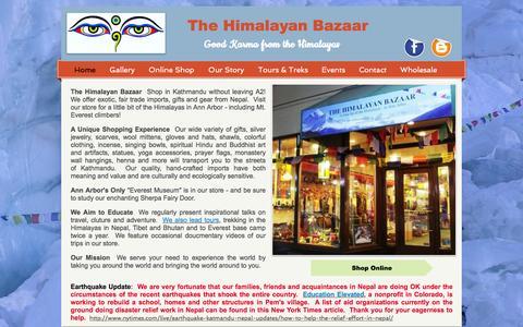 Screenshot of Home Page thehimalayanbazaar.com - The Himalayan Bazaar, Fair Trade gift shop downtown Ann Arbor, Mi - captured Feb. 25, 2016
