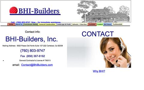 Screenshot of Contact Page bhibuilders.com - Home Improvement Estimates online, Remodeling, Renovating and New Construction, San Diego Contractors - captured Oct. 5, 2014