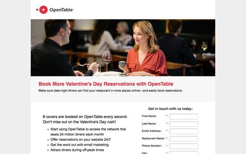 Screenshot of Landing Page opentable.com - Promote Your Restaurant with OpenTable GuestCenter - captured March 4, 2018