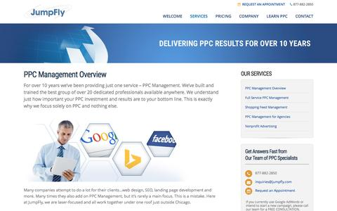 Screenshot of Services Page jumpfly.com - JumpFly Services | Google AdWords & Bing Ads Management Leaders - captured March 26, 2017