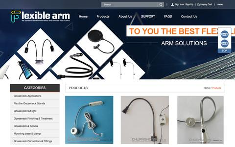Screenshot of Products Page flexible-arm.com - Flexible Arm,Flexible Gooseneck Tube - captured Nov. 25, 2016