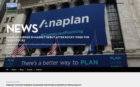 Screenshot of Press Page shastaventures.com - News Archive   Shasta Ventures - captured Jan. 8, 2019