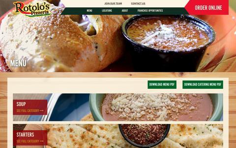 Screenshot of Menu Page rotolos.com - Rotolo's Menu | Italian Food Menu from Rotolo's Pizzeria - captured Feb. 15, 2016