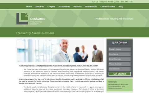Screenshot of FAQ Page l2insuranceagency.com - Frequently Asked Questions - L Squared Insurance Agency - captured Sept. 25, 2018