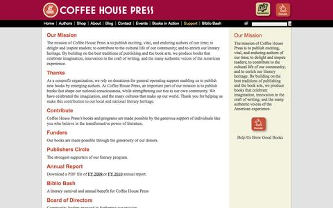 Screenshot of Support Page coffeehousepress.org - Support | Coffee House Press - captured Sept. 29, 2014