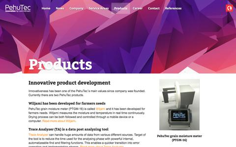 Screenshot of Products Page pehutec.com - Products - Pehutec - captured July 20, 2017