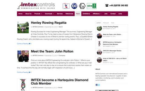 Screenshot of Press Page imtex-controls.com - News - Imtex Controls - captured Oct. 4, 2014