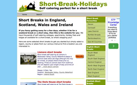 Screenshot of Home Page short-break-holidays.com - Short Breaks in England Scotland Wales Ireland. Self Catering Short Stays Budget Luxury CHEAP WEEKEND BREAKS Short Breaks. Short Break Holidays - captured Sept. 10, 2015