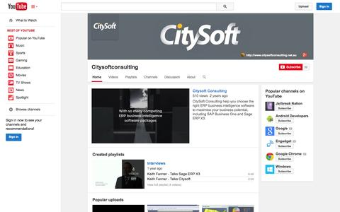 Screenshot of YouTube Page youtube.com - Citysoftconsulting  - YouTube - captured Oct. 22, 2014