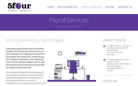 Screenshot of Services Page 5fourpayroll.co.uk - Payroll Services - 5four Payroll - captured Oct. 7, 2014