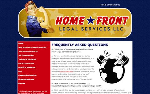 Screenshot of FAQ Page homefrontlegal.com - Frequently Asked Questions Regarding Temporary Legal Staffing - captured Oct. 2, 2014