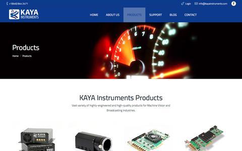Screenshot of Products Page kayainstruments.com - Products – KAYA Instruments - captured Oct. 16, 2017