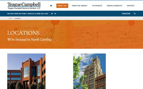Screenshot of Locations Page teaguecampbell.com - Locations – Teague Campbell Dennis & Gorham - captured Feb. 4, 2018