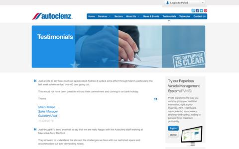 Screenshot of Testimonials Page autoclenz.co.uk - Testimonials | The UK Leader in Car Valeting, Cosmetic Repair, Delivery & Collection - captured July 27, 2016