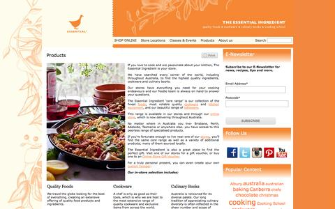 Screenshot of Products Page essentialingredient.com.au - Products |  The Essential Ingredient - captured Oct. 6, 2014