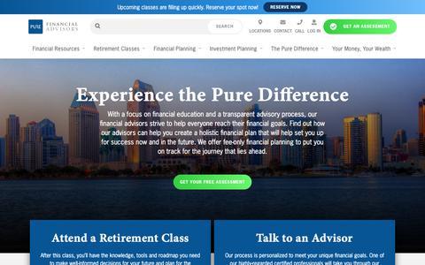 Screenshot of Home Page purefinancial.com - Fiduciary Financial Advisors – Fee-Only Financial Advisors | Pure Financial - captured Jan. 20, 2019