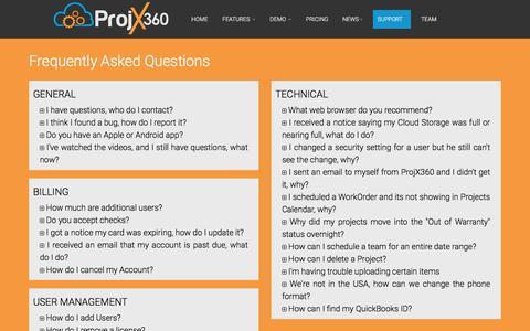 Screenshot of FAQ Page projx360.com - FAQ's - ProjX360 - captured May 11, 2017