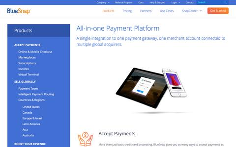Screenshot of Products Page bluesnap.com - All-in-One Payment Platform for Online and Mobile - captured Nov. 4, 2017